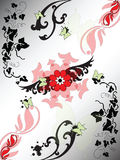Background with vegetal patterns butterflies Royalty Free Stock Image