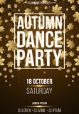 Background vertical poster for autumn dance party. White banner with golden dust. Abstract yellow lights. Maple leaves. Seasonal p. Oster. DJ and club name royalty free illustration