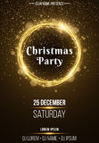 Background vertical poster for a Christmas party. Shining golden banner with golden dust. Abstract yellow lights. Festive poster. DJ and club name. Vector Royalty Free Stock Photography