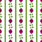 Background with vertical stripes, flowers and leaves. Floral seamless pattern. Royalty Free Stock Image
