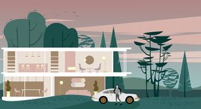 Background view of full glazing Cottage in the evening forest vector illustration