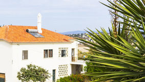 Background view of house and garden in the resort area of Lagos,  Portugal Royalty Free Stock Photo