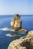 Background view of liffs in the peninsulae Cabo Carvoeiro Royalty Free Stock Photography