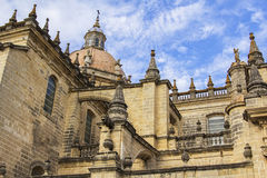 Background view of the monument of ancient architecture Cathedral of Jerez de la Frontera in Andalusia Royalty Free Stock Photography