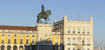 Background view of the monument to King Jose first on Commerce Square in Lisbon Stock Photo