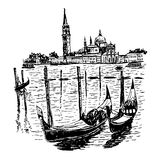 Background view from St. Marks Square and the lagoon island with kampanilla, in Venice, Italy, a sketch hand drawn  Royalty Free Stock Photo