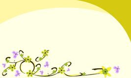 The background with views flowers. In colors yellowish green. There is a butterfly purple stock illustration