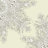 Background from Vintage Abstract floral ornament in beige. Colors Zen tangle style made by trace for creative design or for decoration different things. East royalty free illustration
