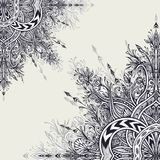 Background  from Vintage Abstract floral ornament black on white. Background from Vintage Abstract floral ornament black on white in Zen tangle style made by Stock Photography