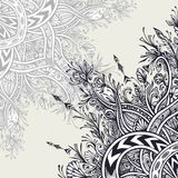 Background  from Vintage Abstract floral ornament black on white. Background from Vintage Abstract floral ornament black on white in Zen tangle style made by Stock Photo