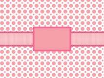 Background with vintage holiday frame. Pink polka dot background with vintage holiday frame vector illustration Stock Photo