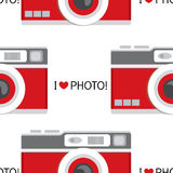 Background of vintage photo cameras. Vector illustration for a card or poster, print on clothes. Photo camera old school. Stock Images