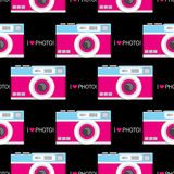 Background of vintage photo cameras. Vector illustration for a card or poster, print on clothes. Photo camera old school. Stock Photography