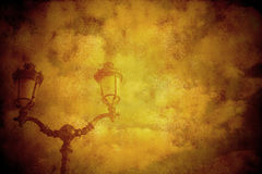 Background vintage style lamp and clouds Stock Photo