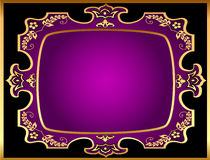 Background with violet frame with gold(en) pattern Royalty Free Stock Image