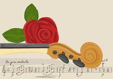 Background with violin and rose Stock Image