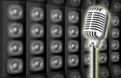 Background from voice loud speakers and microphone Royalty Free Stock Photos