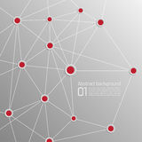 Background with volume paper with red dots interconnected. Template for web, brochures, presentations, explanations, flyers Stock Images