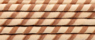 Background of waffle rolls. Royalty Free Stock Images