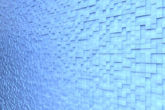 Background wall with 3D cubes. Blue background wall made of many 3D cubes Royalty Free Stock Image