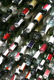 Background wall from bottles of wine Royalty Free Stock Photos