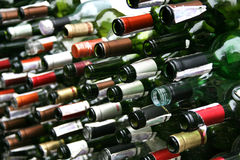 Background wall from  bottles of wine Royalty Free Stock Photography
