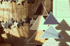 Background wall of burlap with stars and fir wood Royalty Free Stock Photos