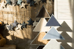 Background wall of burlap with stars and fir wood Royalty Free Stock Images