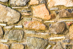 Background wall made of stone. Fragment of a wall from a chipped stone Royalty Free Stock Image