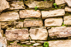 Background wall made of stone. Fragment of a wall from a chipped stone Stock Photography
