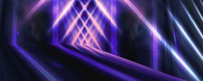 Background wall with neon lines and rays. Background of an empty dark corridor with neon light. Abstract background with lines and glow vector illustration