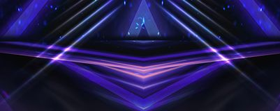 Background wall with neon lines and rays. Background of an empty dark corridor with neon light. Abstract background with lines and glow royalty free illustration