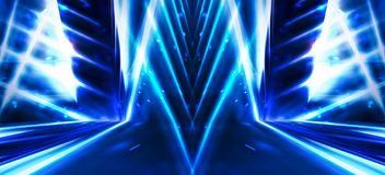 Background wall with neon lines and rays. Background of an empty dark corridor with neon light. Abstract background with lines and glow stock illustration