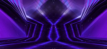 Background wall with neon lines and rays. Background of an empty dark corridor with neon light. Abstract background with lines and. Background wall with neon vector illustration