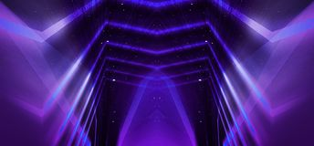 Background wall with neon lines and rays. Background of an empty dark corridor with neon light. Abstract background with lines and. Background wall with neon stock illustration