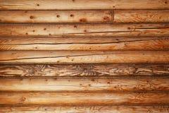 Wall from tree brevn, a horizontal look Royalty Free Stock Photo