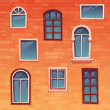 Background of wall with windows. Vector Stock Image