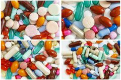 Drugs pills supplements pile collage royalty free stock photo