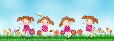 Kids girl with Background flower in the meadow Vector Illustration