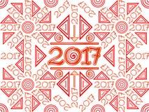 2017 Background Wallpaper Pattern. Vector Illustration 2017 Pattern Background Wallpaper in red and gold Stock Image