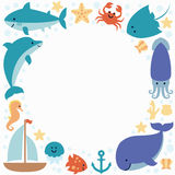 Background wallpaper with sea animals and place for text. Isolated on white. Design for invitation, banner, card, poster, print, frame, border. Art vector Royalty Free Stock Image