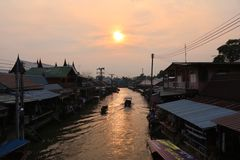 View. Sunset at amphawa floating market royalty free stock photos