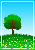 Background or wallpaper with the theme of a lone tree on green and flowery hill. Illustration. Background or wallpaper with the theme of a lone tree on green vector illustration