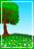Background or wallpaper with the theme of a lone tree on green and flowery hill. Illustration. Background or wallpaper with the theme of a lone tree on green stock illustration