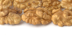 Background with walnuts. Copy space for your own text Stock Photos