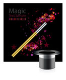 Background with wand and hat Royalty Free Stock Photos