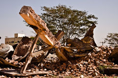 Background of war. A destroyed building Royalty Free Stock Images