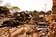 Background of war. A destroyed, demolished building Royalty Free Stock Photography