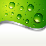 Background with water drops. Abstract background with water drops on green Stock Photos