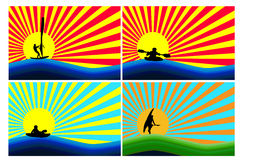Background with water sports stock illustration